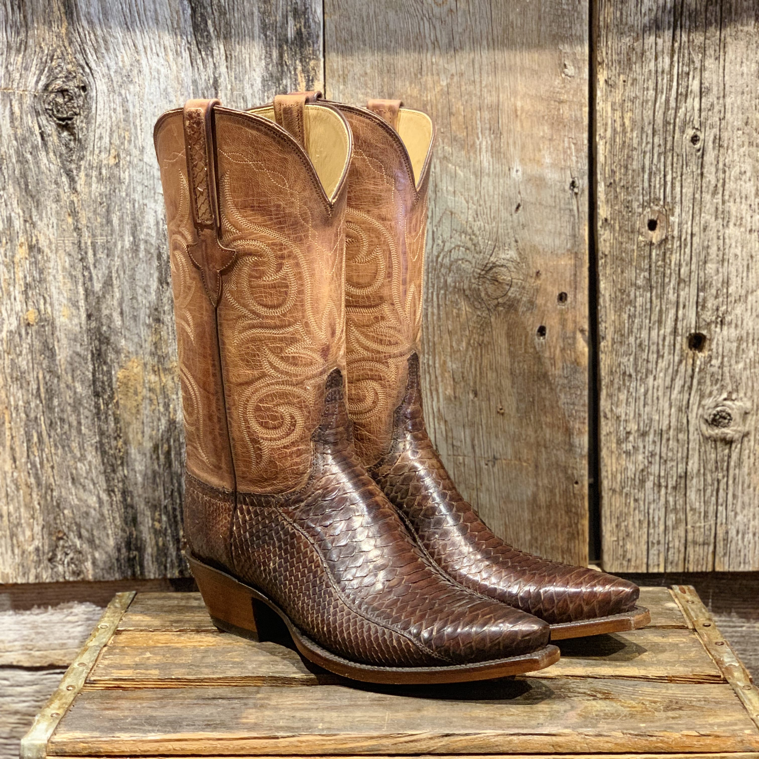 3e4703b5bfd LUCCHESE CLASSIC SABLE SATIN PYTHON BOOTS