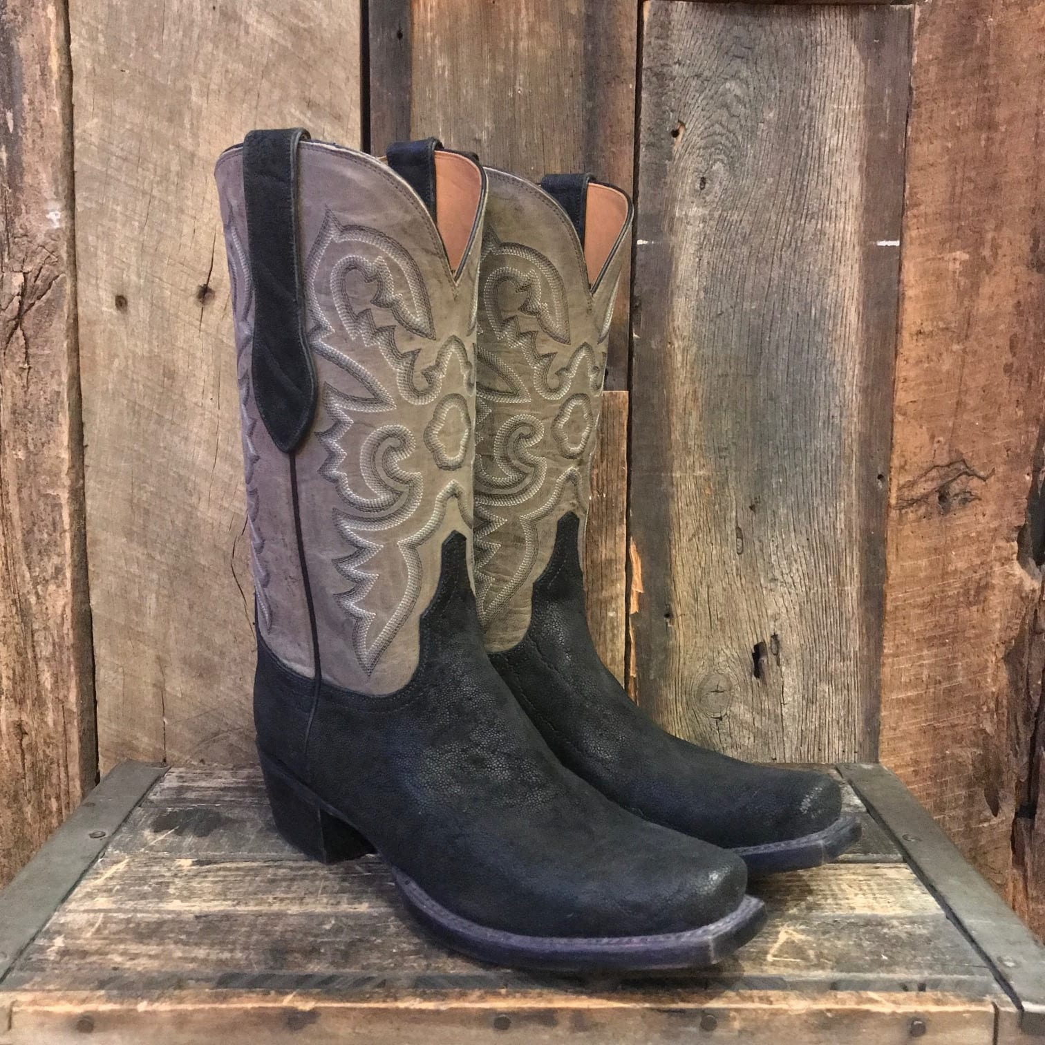 adfaf8ebfd9 LUCCHESE CLASSIC BLACK SUEDED ELEPHANT BOOTS