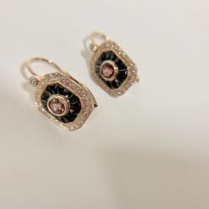 2d4a44ca1 14K GOLD, ONYX AND TOURMALINE EARRINGS