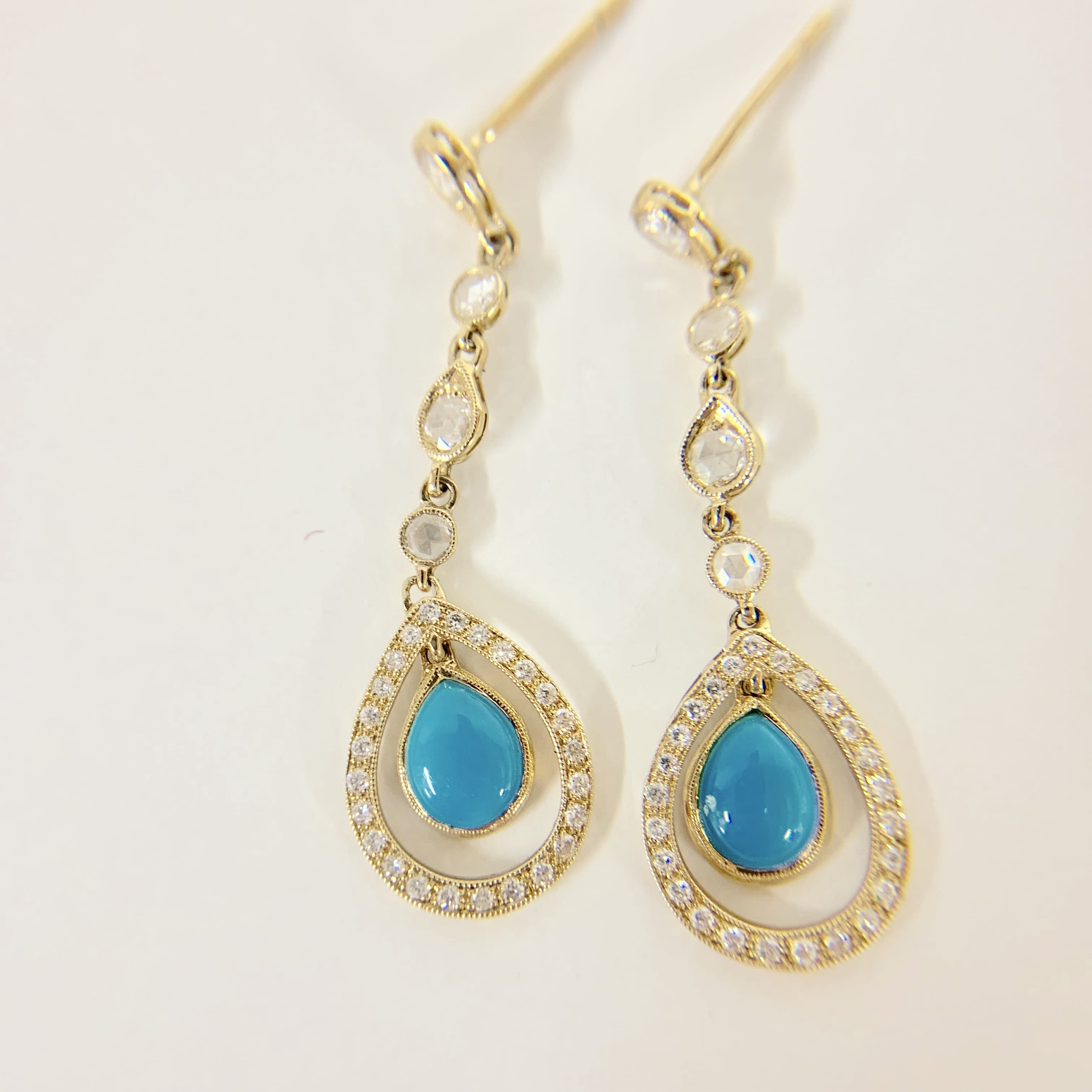 ae9925c11 18K GOLD, DIAMOND AND TURQUOISE EARRINGS – Kemosabe