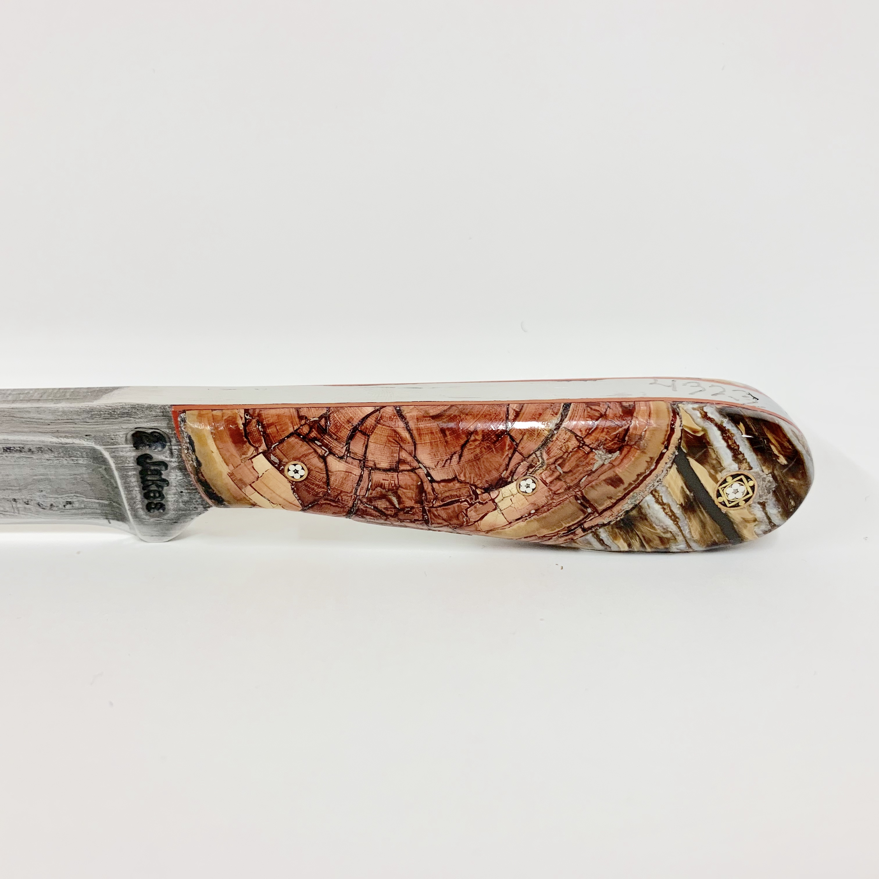 RED MAMMOTH IVORY AND MAMMOTH TOOTH KNIFE